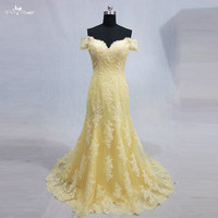 RSE777 Off Shoulder Lace Mermaid Long Yellow Prom Dress
