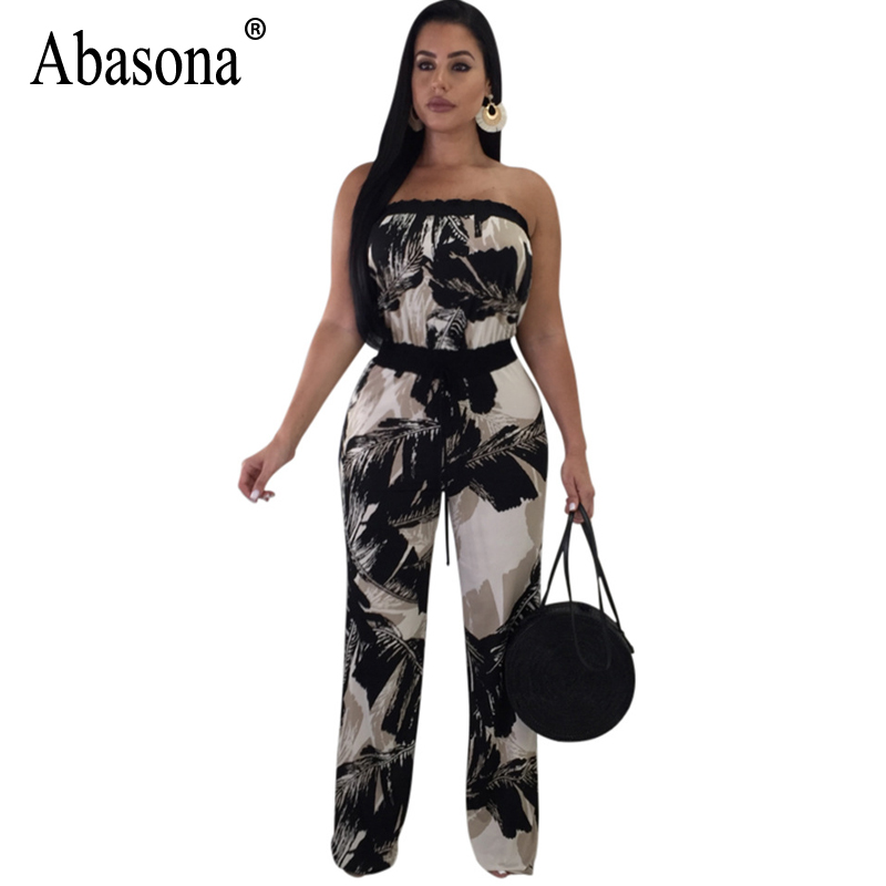 Abasona 2018 Casual Printed Rompers Womens Jumpsuit Sexy Strapless Sleeveless Ruffles Wide leg Jumpsuit Summer Bohemian Jumpsuit
