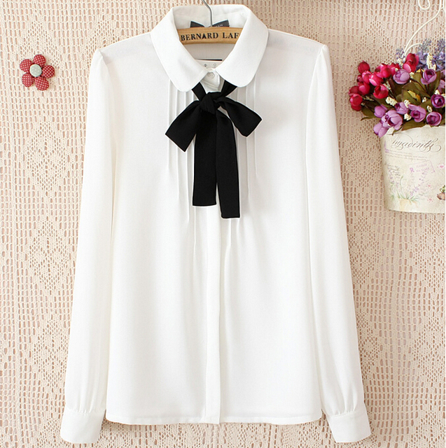 Plus Size Long Sleeve Shirt Women Blouses 2015 Spring Summer White ...
