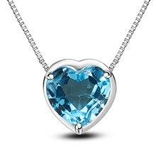 LANZYO 925 Sterling Silver blue topaz Pendants fashion gift Pendant fine Jewelry z080801agb Heart Pendant send Necklac wholesale
