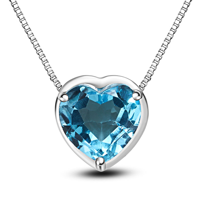 LANZYO 925 Sterling Silver blue topaz Přívěsky módní dárek Přívěsek jemný Šperky z080801agb Srdce Přívěsek poslat Necklac velkoobchod