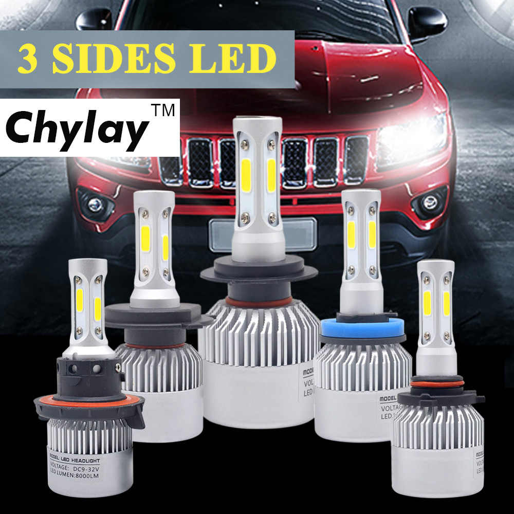 H4 Car LED Headlight 72W 6500K 3 Sides COB Chips Auto H11 H13 9005 9006 9007 H7 LED kit Headlamp fog light Automobiles Parts