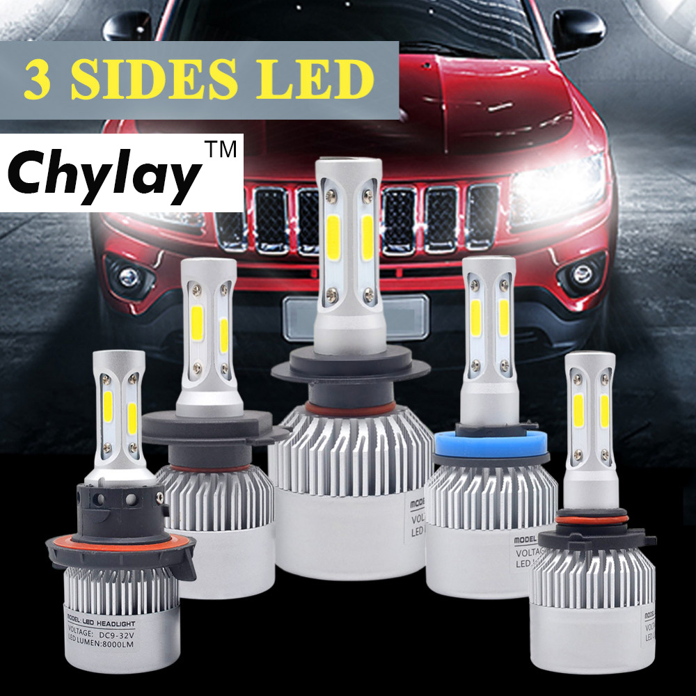 H4 Bil LED-strålkastare 72W 6500K 3-sidor COB Chips Auto H11 H13 9005 9006 9007 H7 LED-kit Strålkastare dimljus Bilar Delar