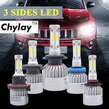 H4 Car LED Headlight 72W 6500K 3 Sides COB Chips Auto H11 H13 9005 9006 9007 H7 LED kit Headlamp fog light Automobiles Parts(China)