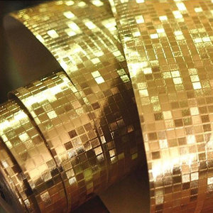 Image 5 - Luxury Glitter Mosaic Wallpaper Background Wall Wallpaper Gold Foil Wallpaper Silver Ceiling Wall covering Papel De Parede 3D