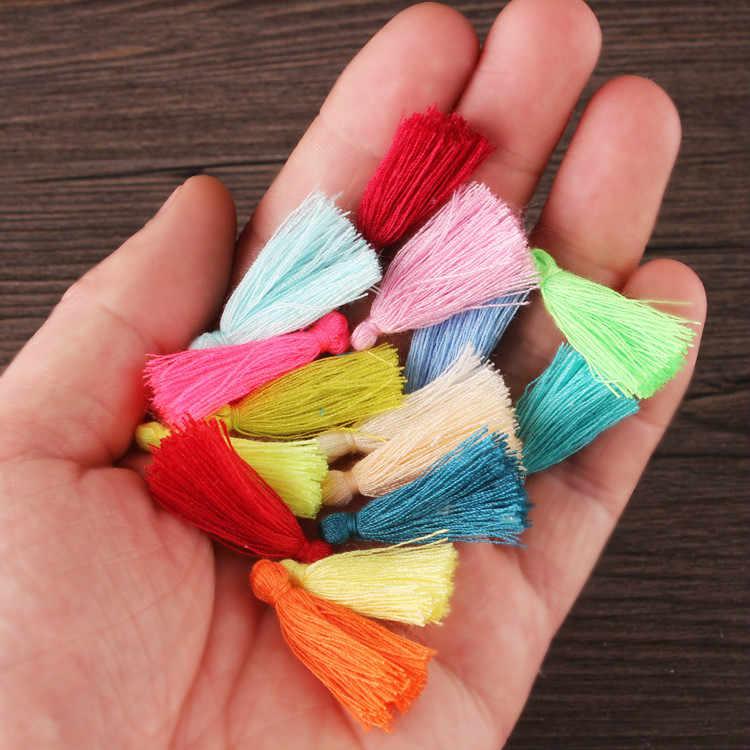 50 buah 3 cm Handmade Mini Katun Jumbai Jumbai Kecil untuk Gelang Anting Kalung Membuat Temuan Perhiasan Charms