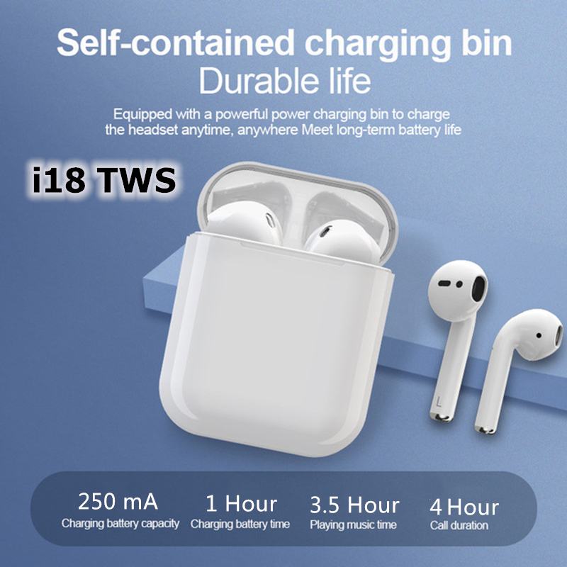 i18 TWS True Wireless Bluetooth Sport Earphone Stereo Earbud Headset With Charging Box For iphone Huawei Xiaomi Samsung wireless in Bluetooth Earphones Headphones from Consumer Electronics