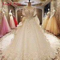 Anioł Drzewo Factory direct suknie ślubne frezowanie suknia balowa koronki w górę powrót O neck krótkie rękawy robe mariage femme rzeczywistym zdjęcia