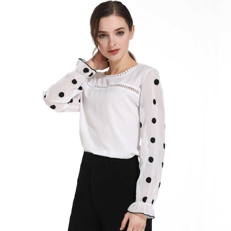 fashion womens tops and blouses white chiffon blouse shirt OL blouse long sleeve women shirts blusas femininas blouse d383 60