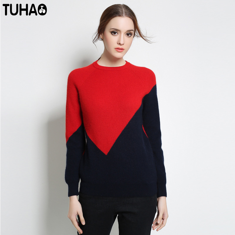 TUHAO Red And Blue Design Oversize Sweater Woman Patchwork Thicken Pullover Womens Sweaters Female Plus Size 5XL YZ25