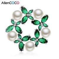 Allencoco Jewelry сделано в Китае модные Дизайн зеленый циркон с белый имитация жемчуга Broochs для леди Шарм ювелирные изделия оптом
