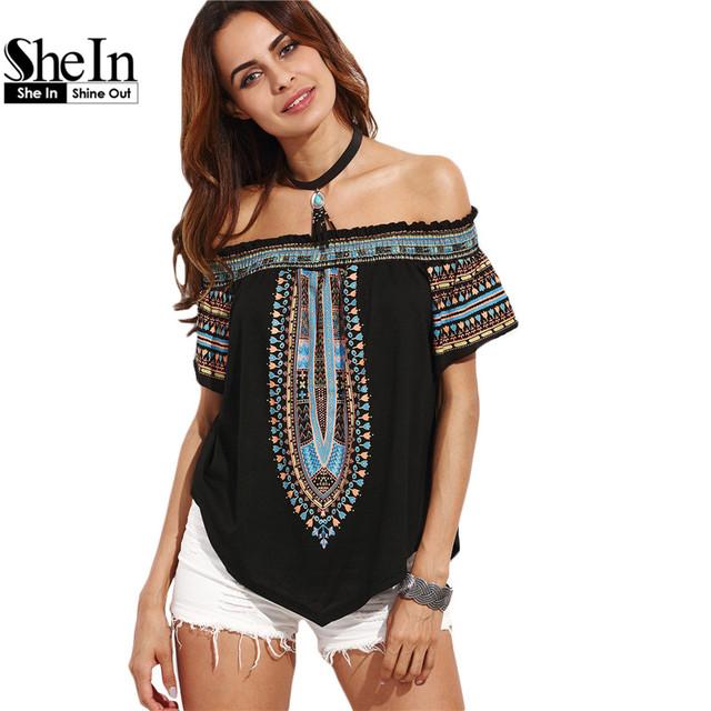Shein mulheres topos de verão 2016 senhoras multicolor impressão blusa de manga curta fora do ombro assimétrico do vintage