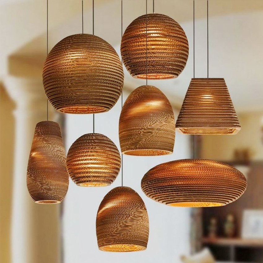 Sud-est asiatique pastorale ver à soie lustre lumières papier Pupa fait café barre suspension lampe Style nordique salle à manger suspension