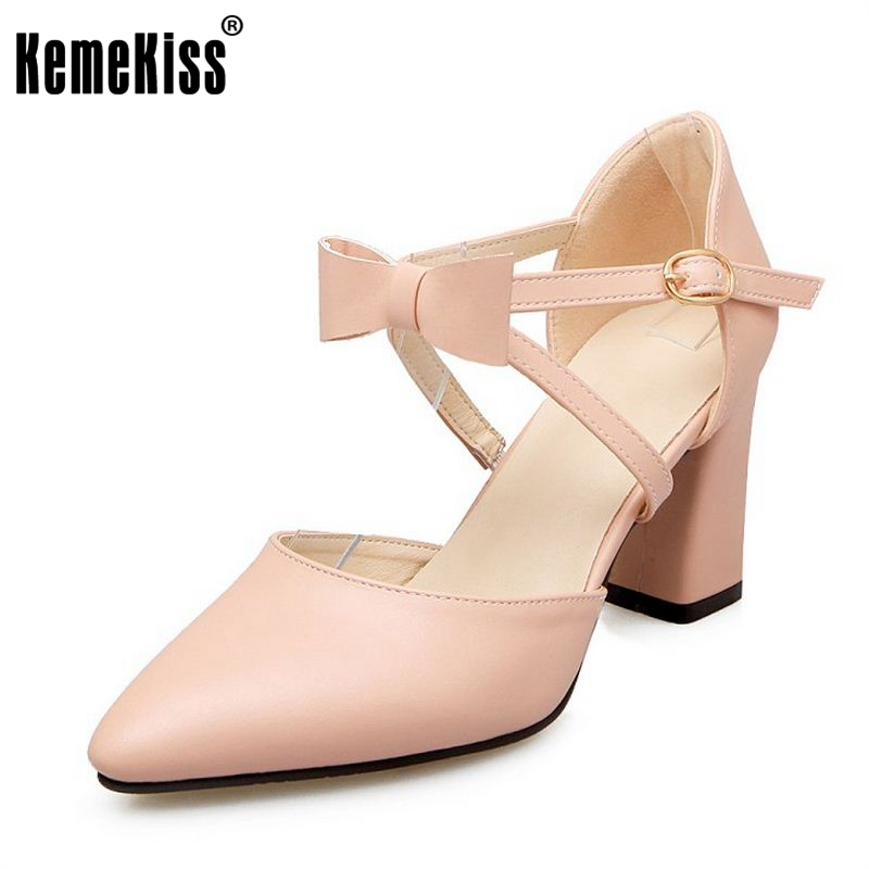 KemeKiss Size 33-43 Women Thick High Heel Candy Color Sweety Sandals Ladies Cross Strap Bowknot Pointed Toe Shoes Women Footwear free shipping candy color women garden shoes breathable women beach shoes hsa21