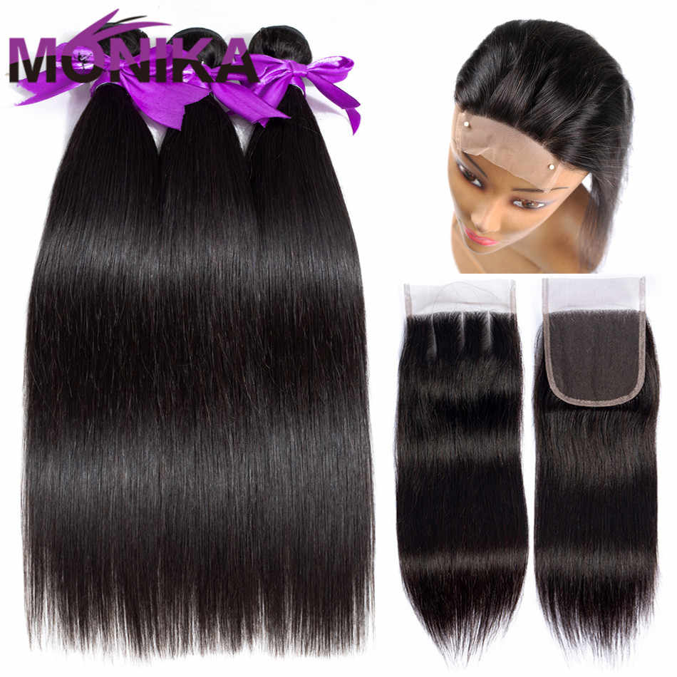 Monika Human Hair 3 Bundles With Closure Straight Hair Bundles With Closure Brazilian Hair Weave Bundles and Closure Non Remy
