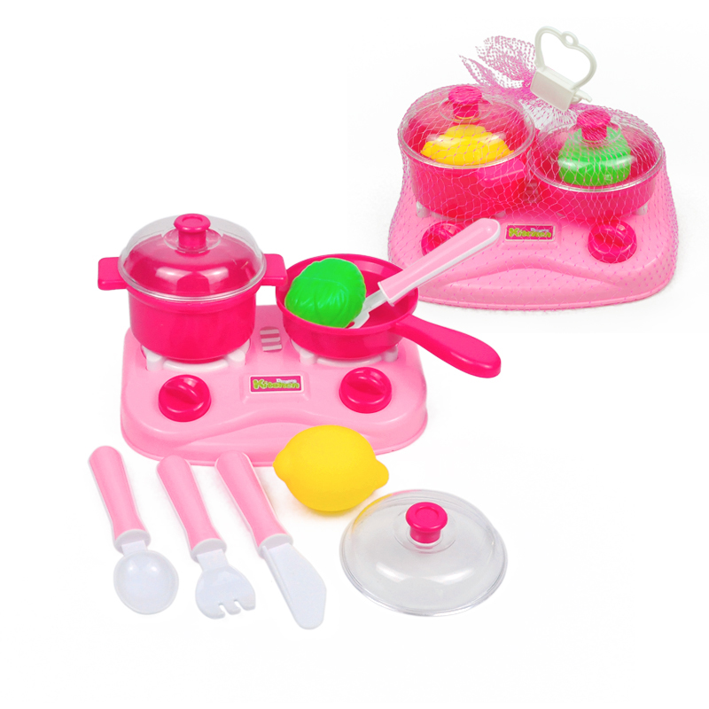 Pink Plastic Kitchen Pretend Play Food Toys Fruit Educational Kids Cooking Teapot Tableware Tea Set Net Bag Packaging In From