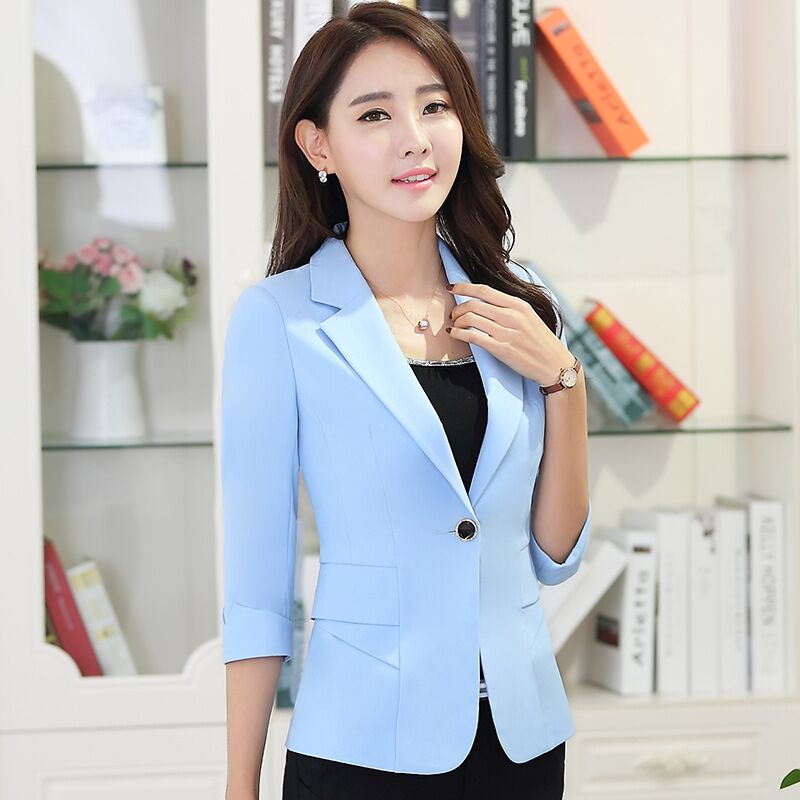 Fashion elegant autumn slim work wear women formal half sleeve sky blue blazers coats female office plus size jacket