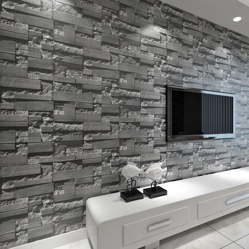 Moderne tapete grau  Aliexpress.com : Gestapelte Ziegelstein 3D Wallpaper Moderne ...