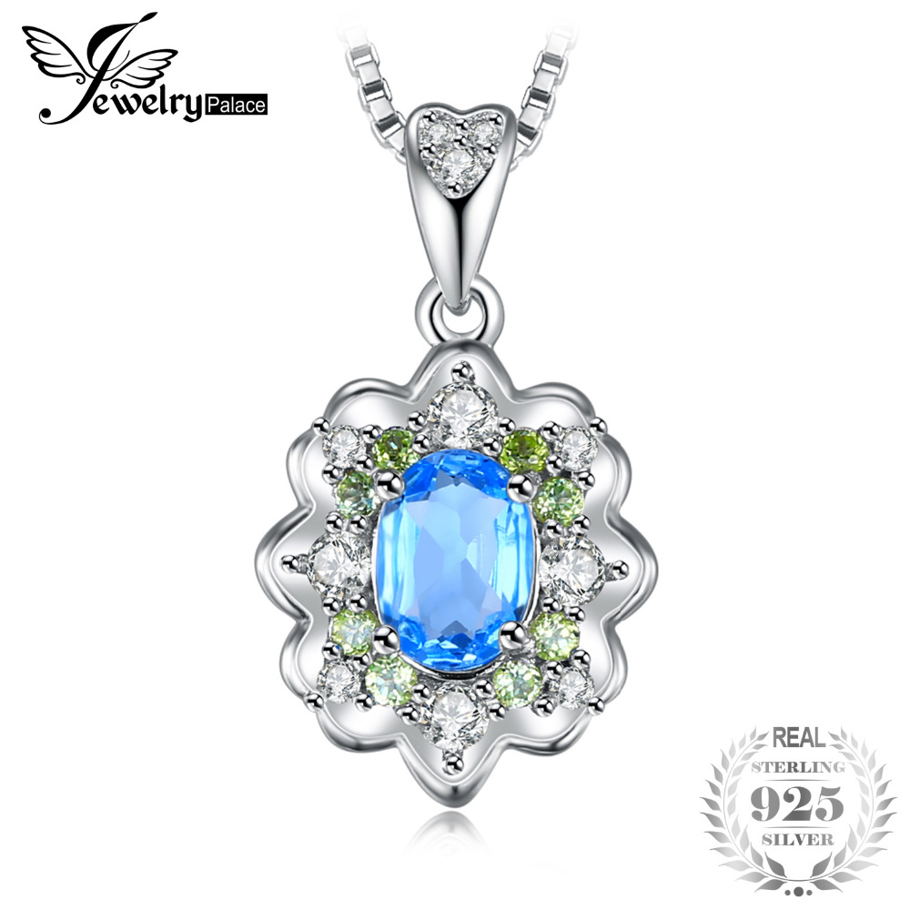 JewelryPalace 1.25ct Natural Swis Blue Topaz & Peridot Pendant 925 Sterling Silver Vintage Fine Jewelry Not Include a Chain