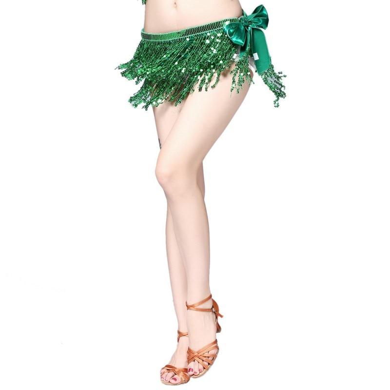 Multi Color Women Sexy Dancing Dancewear Tassel Bras Hip Wrap Scarf Sequin Waistband Tassel Skirt