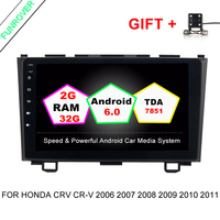 Funrover 2 Din Android 6 0 Car DVD GPS For Honda CRV CR V 2006 2007