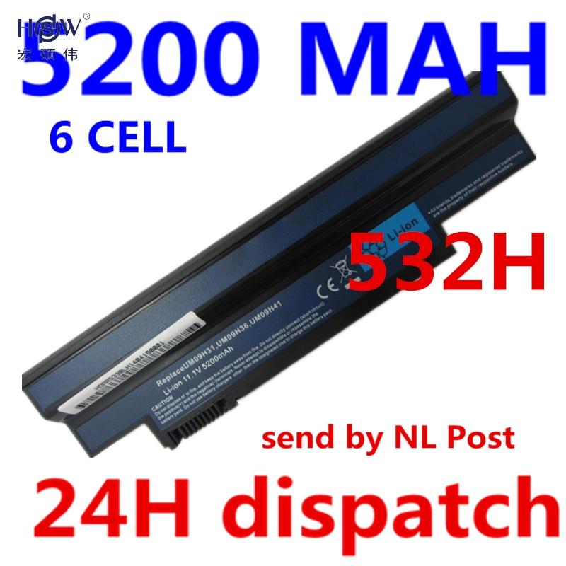 HSW 5200MAH 6cells Laptop battery FOR ACER Aspire one AO533-KK3G AO533-WW3G eMachines 350 350-21G16i eM350 NAV50 NAV51 Bateria pitatel bt 067w um09h36 um09g31 for acer aspire one 532 532h 533 packard bell dot s2