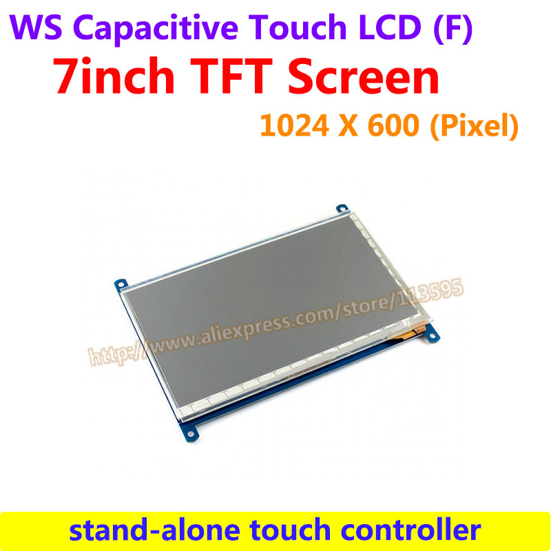 WS 7inch Capacitive Touch LCD (F) Drive Demo Board Development 1024*600 Multicolor Graphic LCD stand-alone touch controller 7inch capacitive touch lcd display 1024 600 resolution tft screen demo board module rgb and lvds interface ft5206ge1 controller