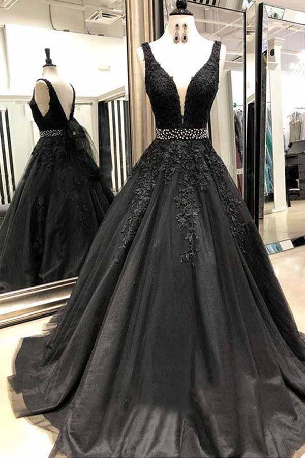 Black Long Prom Dresses 2019 Beading V-Neck Ball Gown Tulle Appliques Lace Saudi Arabic Evening Dress Gown Abiye Gece Elbisesi