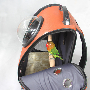 Outdoor leather Bird backpack Parrot Carriers Cage Parrot Bag With Wood Perch Pet Breathable Space Capsule Backpack CW081 1