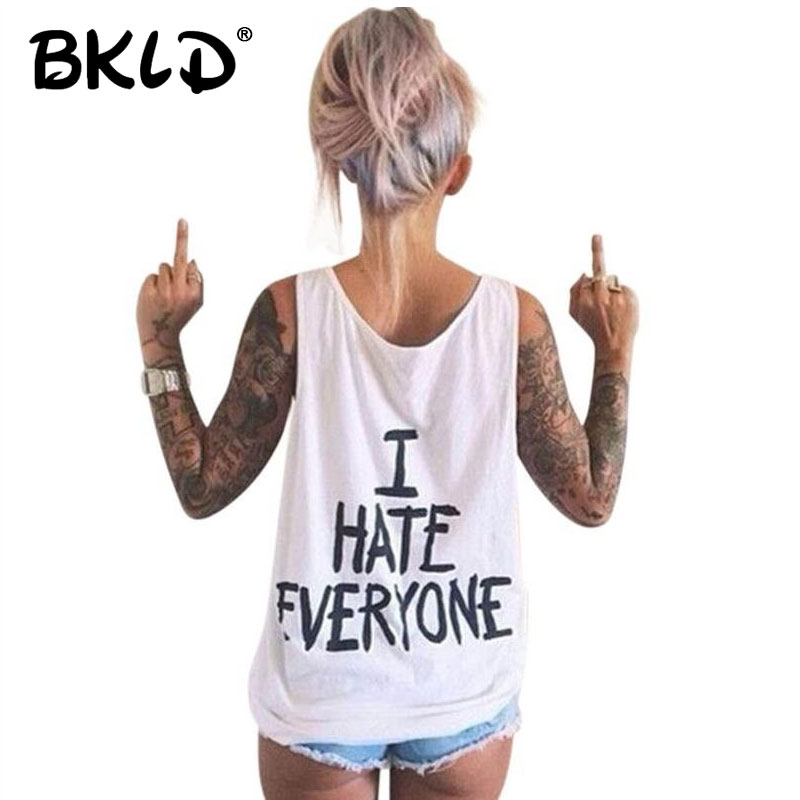 BKLD Harajuku Women T-Shirt I HATE EVERYONE TOPS Funny t shirt Women Sexy hip hop Streetwear tees Design Graphic Tee For Female