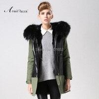 2014 New Winter Autumn Women Elegant Faux Leather Grass Coats Fur Lined Parka Faux Fur Jacket