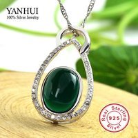 YANHUI Luxury Pure Natural Oval Green Agate Pendant Necklace Real 925 Sterling Silver Fashion Jewelry Necklace