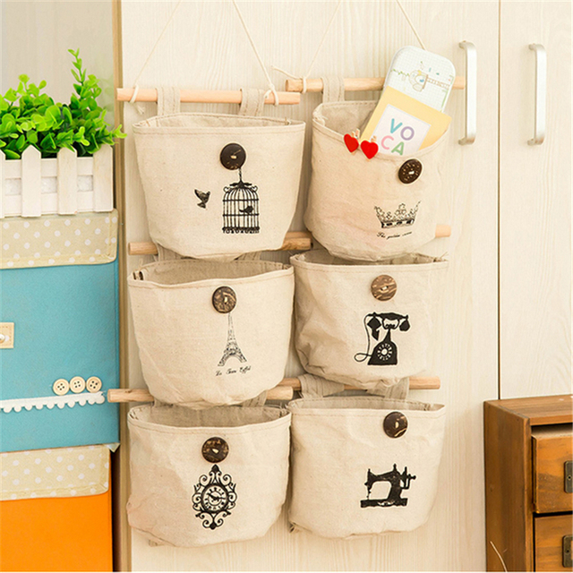 Linen Cotton Home Sundries Storage Bag Wall Hanging Closet Organizer