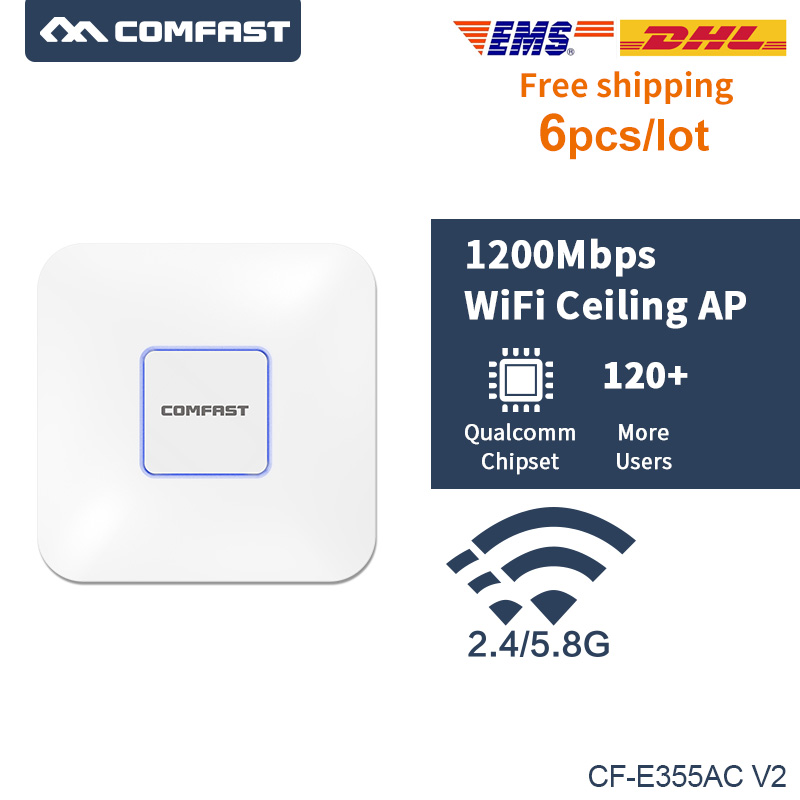 6pcs COMFAST Wireless AP 1200Mbps 802.11AC 5Ghz OPEN DDWRT Wifi Router Antenna Access Point Indoor AP Hotspot Router 120+ Users