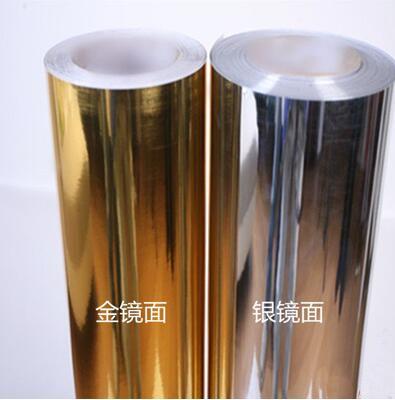 Silver Gold Mirror Film Vinyl Wallpaper Self Adhesive Reflective Contact Paper Diy Metallic 5m