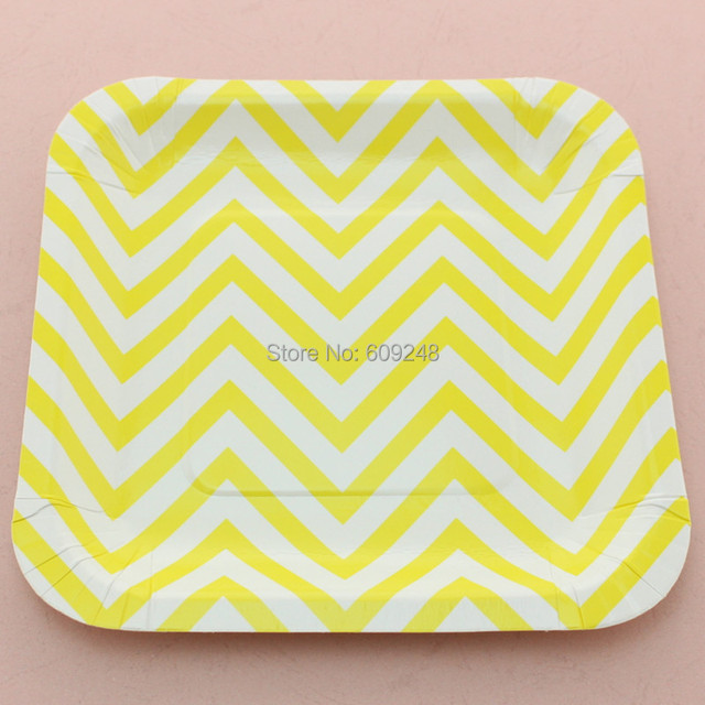 24pcs 7  Yellow Chevron Square Paper PlatesCompostable Sustainable Birthday Party Wedding Bridal Baby  sc 1 st  AliExpress.com & 24pcs 7