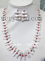 Jewelry 00365 white pearls red coral necklace earrings bracelet set