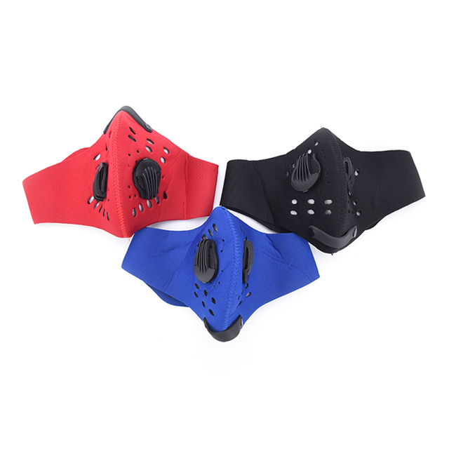 1pc PM2.5 Anti Dust Mask 3 Colors Activated Carbon Filter Windproof Mouth-muffle Bacteria Proof Face Masks
