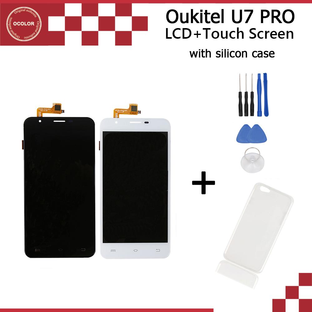 Prix pour Oukitel U7 PRO D'origine LCD affichage 1280x720 et Tactile Écran 5.5 pouce de réparation partie pour Oukitel U7 PRO + outils + de silicium cas