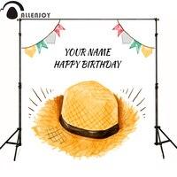 Allenjoyถ่ายภาพพื้นหลังธงหมวกฟางสีส้มเด็กสุขสันต์วัน