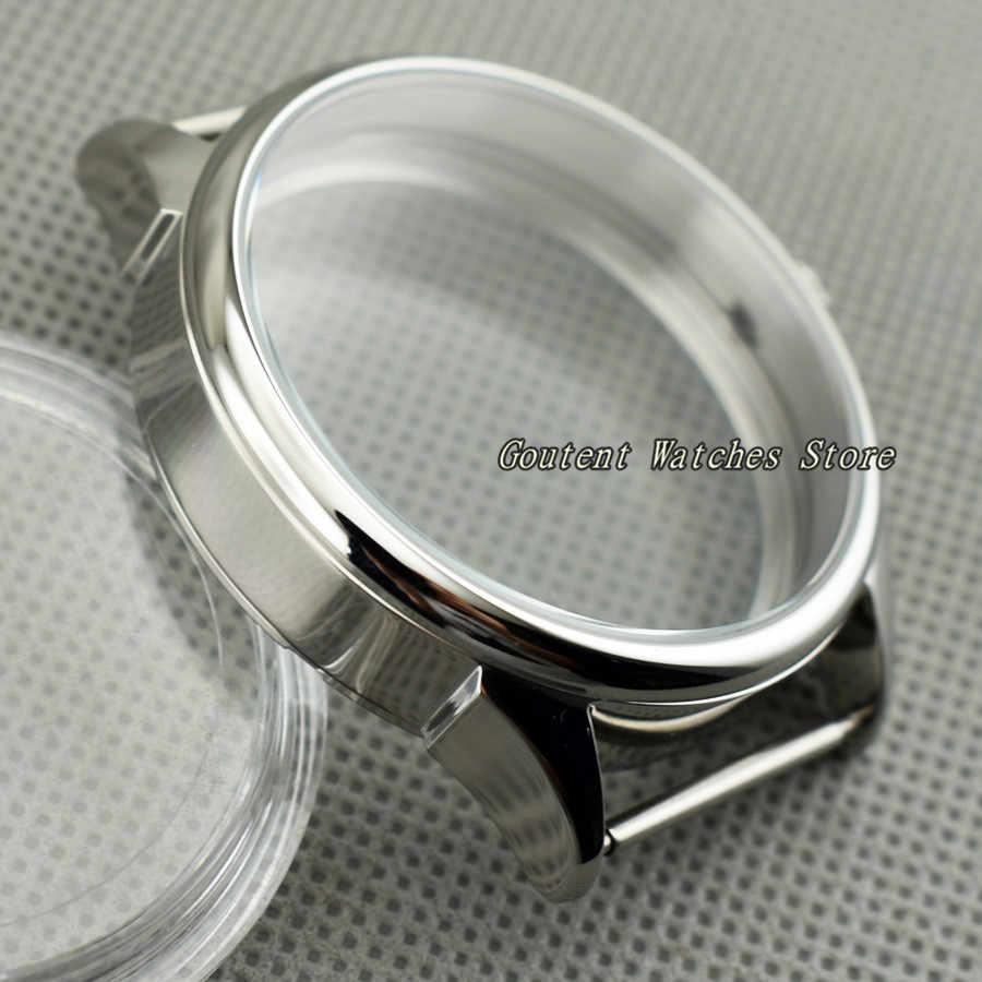 Caja de reloj de acero inoxidable de 42mm compatible con carcasa de reloj mecánico de gaviota 6497/6498 ST36