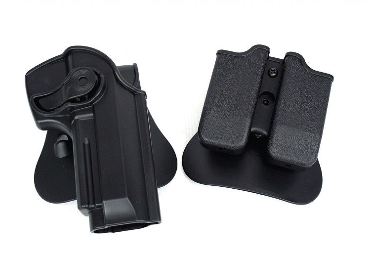 Tactical Airsoft Holster Polymer Retention Roto Holster For Taurus PT92 Taurus 92  M92 IMI Rotary Holster+magazine Carrier