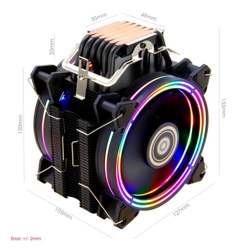 Image 3 - ALSEYE H120D CPU Refroidisseur RGB Ventilateur 120mm PWM 4 Broches 6 Caloducs Refroidisseur pour LGA 775 115x1366 2011 AM2 + AM3 + AM4-in Ventilateurs et refroidissement from Ordinateur et bureautique on AliExpress