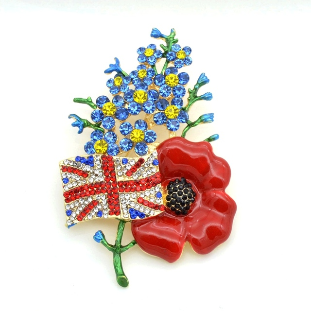32 gold tone forget me not flower uk flag and red poppy flower 32 gold tone forget me not flower uk flag and red poppy flower brooch for mightylinksfo