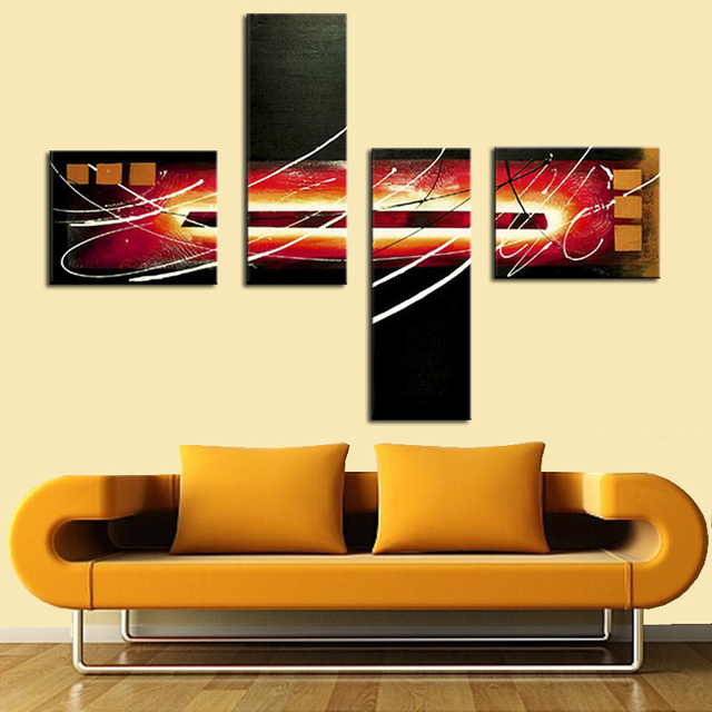 Newest Handmade Modern Abstract Oil Painting On Canvas 4 Panel ...