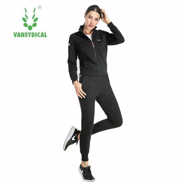 Vansydical Sport Cotton Running Sets 3Pcs Womens Jacket Sports Tops Pants  Tracksuit Sweatshirt Sweat Suit Jogging Set 8173288f61