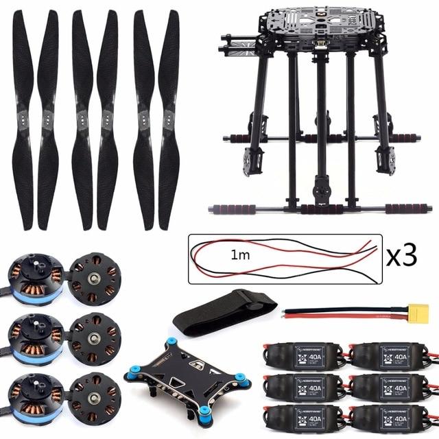 DIY ZD850 Frame Kit with Landing Gear 620KV Brushless Motor 40A ESC 1555 Props Shock Absorber for FPV 6 Axle Drone F19833-B