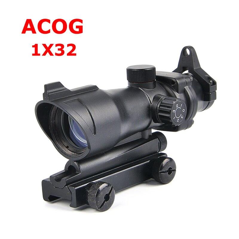 ACOG 1X32 lunette de visée à points verts et rouges lunette de visée en Fiber de visée lunette de chasse viseur optique pour fusil Airsoft Caza