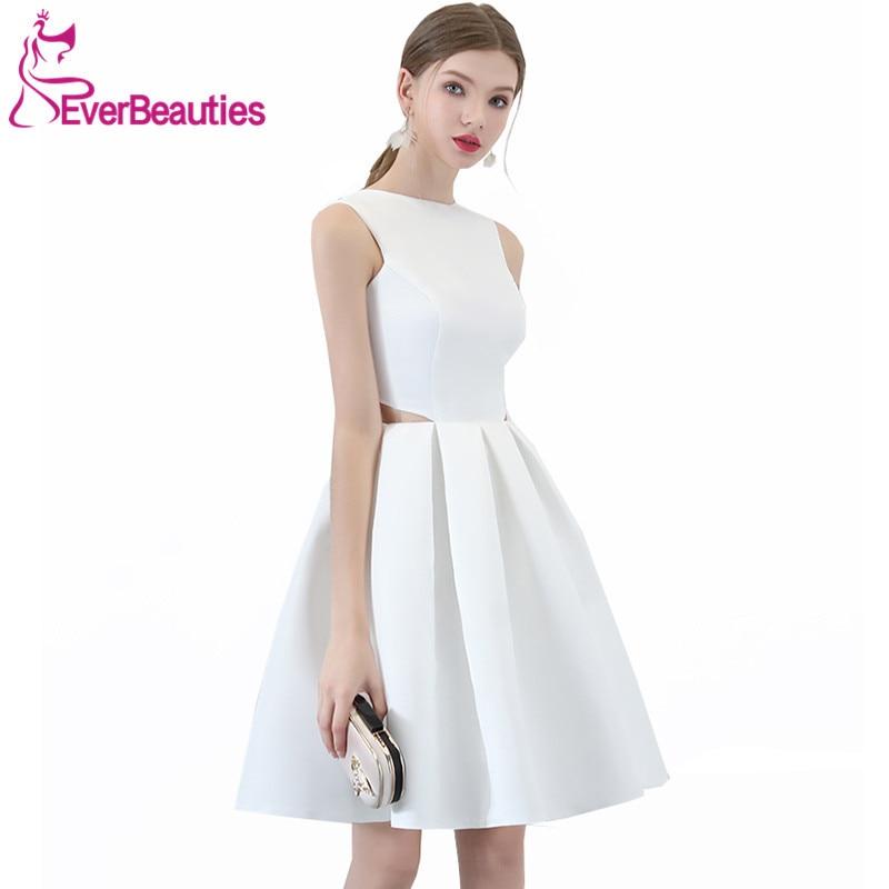 Robe De Soiree Elegant Short Evening Dress 2018 Simple White Satin ...