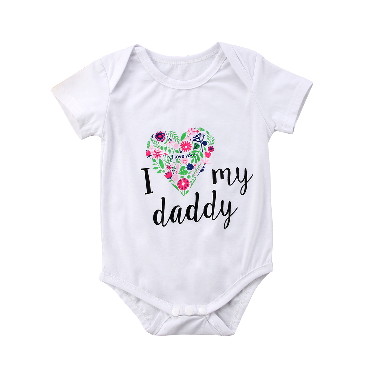 Toddler Boy Girl Kid Baby Short Sleeve Heart-shaped Floral Letter Romper Jumpsuit Outfit One-piece 0-24M